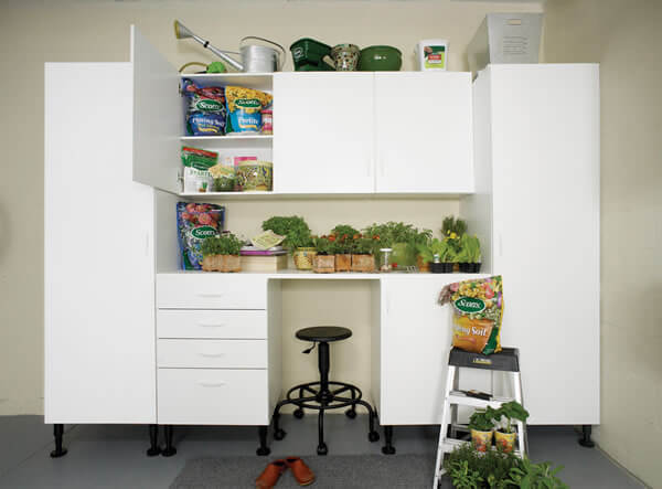 Garage storage solutions help you find a place for all your tools and sports equipment.